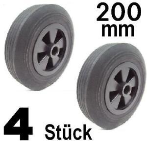 4-Stueck-Gummiraeder-Gummirad-200mm-Rolle-Laufrolle-NEU-Vollgummirad-Raeder