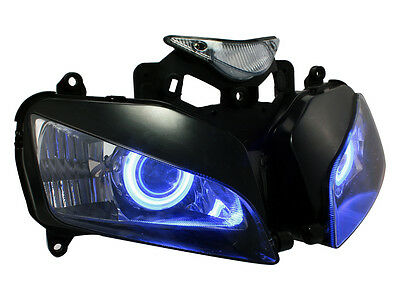 Motorcycle Headlight Fully Assembled W/Blue Angel Demon Eyes For Honda CBR1000RR