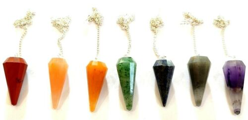 7 Chakra 12 Faceted Reiki Chakra Set Of 7 Pendulums Each For 1 Chakra