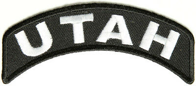 UTAH White on Black Bottom Rocker Iron on Patch for Biker Vest BR441