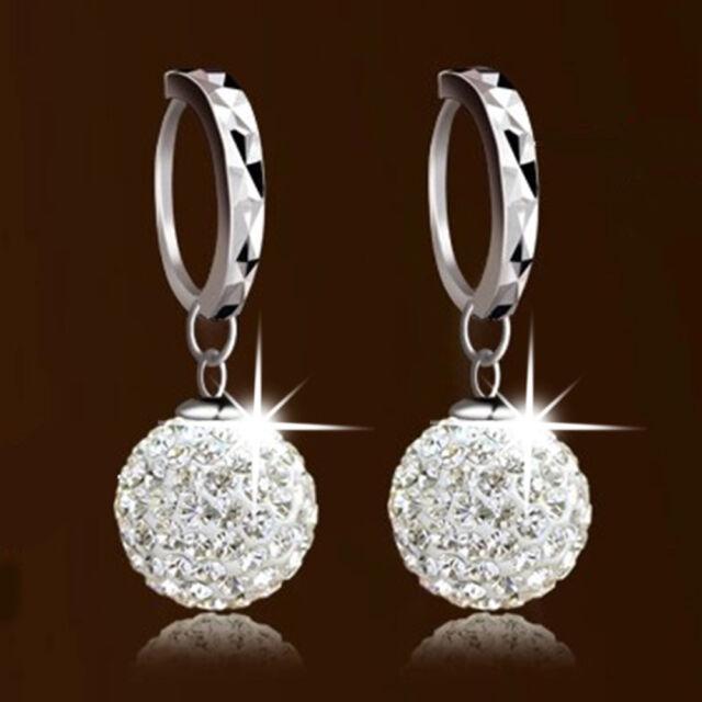 Vintage Swarovski 18K White Gold Filled Crystal Rhinestone Hoop Earrings Womens
