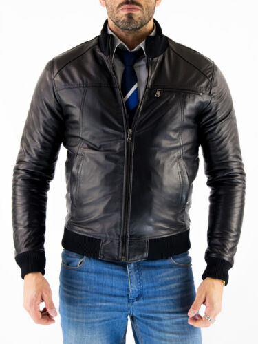 ★Giacca Giubbotto Uomo in di PELLE 100/% Men Leather Jacket Veste Homme Cuir Q49a