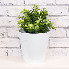 2 x 18cm White Round Indoor Plant Flower Pots Vases Covers Planters Troughs
