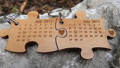 Wedding Date Jigsaw keyrings - His & Hers: Wedding Gift - Personalised on wood