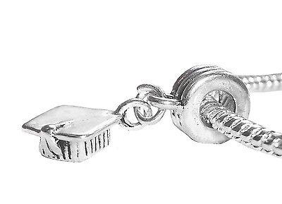 Graduation Graduate Cap Hat College Gift Dangle Charm for European Bracelets