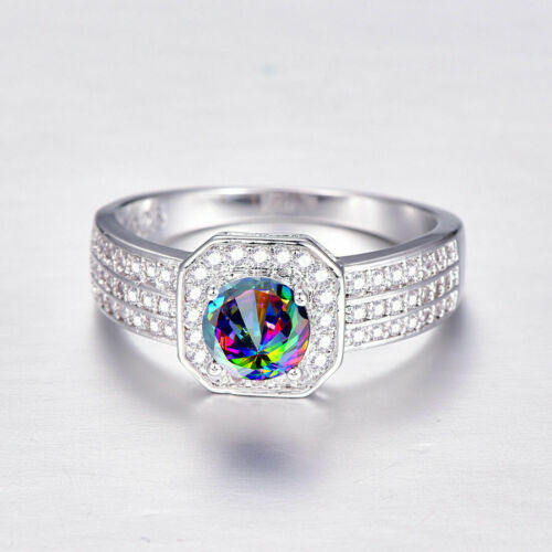 Topas Damen-Ring ausgeprägte Ring Sterling Silber 925  lampi Edelstein Rainbow