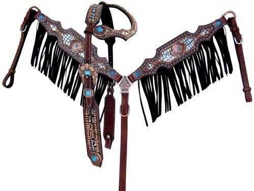 Showman Brida & pecho collar conjunto con estampado de cocodrilo, piedras de flecos y Turquesa