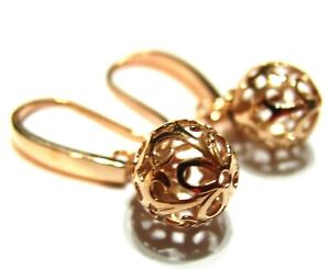 Kaedesigns New 9ct Rose Gold 10mm Euro Ball Drop Filigree Earrings Ebay