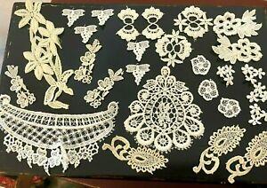 Vintage-103-Venis-Lace-Appliques-Assorted-Cotton-Rayon-Ivory-Cream-White-27pcs