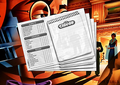 Cluedo Detective Notebook Spare Sheets Cards Coloured 2 Sheets = 16 Cards