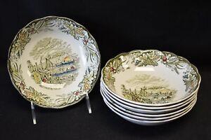 Ridgway-Heritage-Green-Multicolor-Citadel-of-Kingston-Set-of-7-Cereal-Bowls