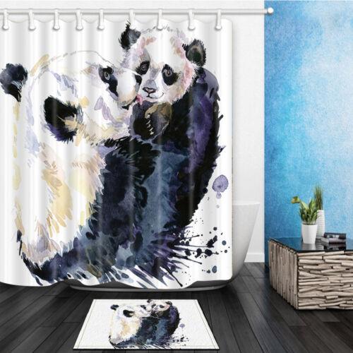 Cute Panda Baby Waterproof Polyester-Fabric Shower Curtain /& Bath mat 180*180cm