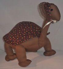 Handmade Stuffed Animal Girl Turtle Doll Brown Spotted Figurine w/ Bonnet