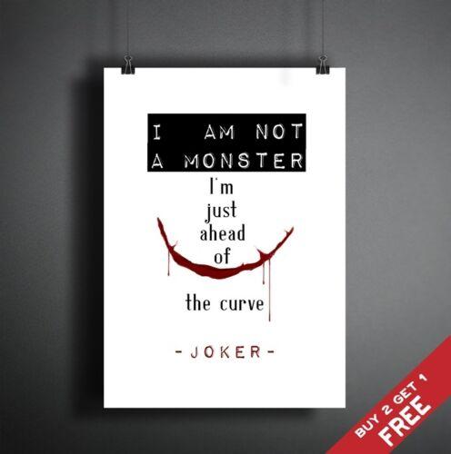 JOKER QUOTE BATMAN MOVIE A4 POSTER Typographic Wall Art Design Print A3