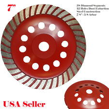 "7"" x 38 Segment 7/8""-5/8"" Arbor Diamond Grinding CUP Wheel Disc Grinder Turbo"