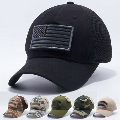 USA American Flag hat Detachable Baseball Mesh Tactical Military ...