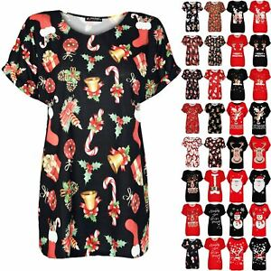 Womens Ladies Santa Reindeer Baggy Oversize Top Christmas Turn Up Sleeve T Shirt