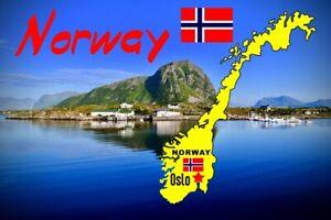 NORWAY MAP / FLAG / SOUVENIR NOVELTY FRIDGE MAGNET - SIGHTS / BRAND NEW / GIFTS