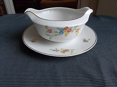 Sunny Porcelain Limoges Raynaud&cie Sauce-boat Decor Of Flowers Lines Golden Decorative Arts Other Antique Ceramics