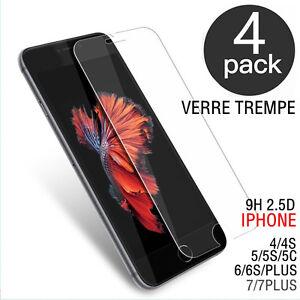 Lot-4-Vitre-protection-verre-trempe-film-protecteur-ecran-iPhone-4-5-6-7-S-8