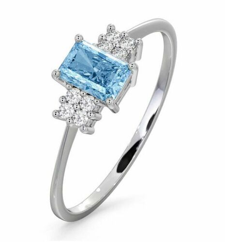 Solitaire Ring Diamond Blue Topaz White Gold Engagement Hallmarked Certificate