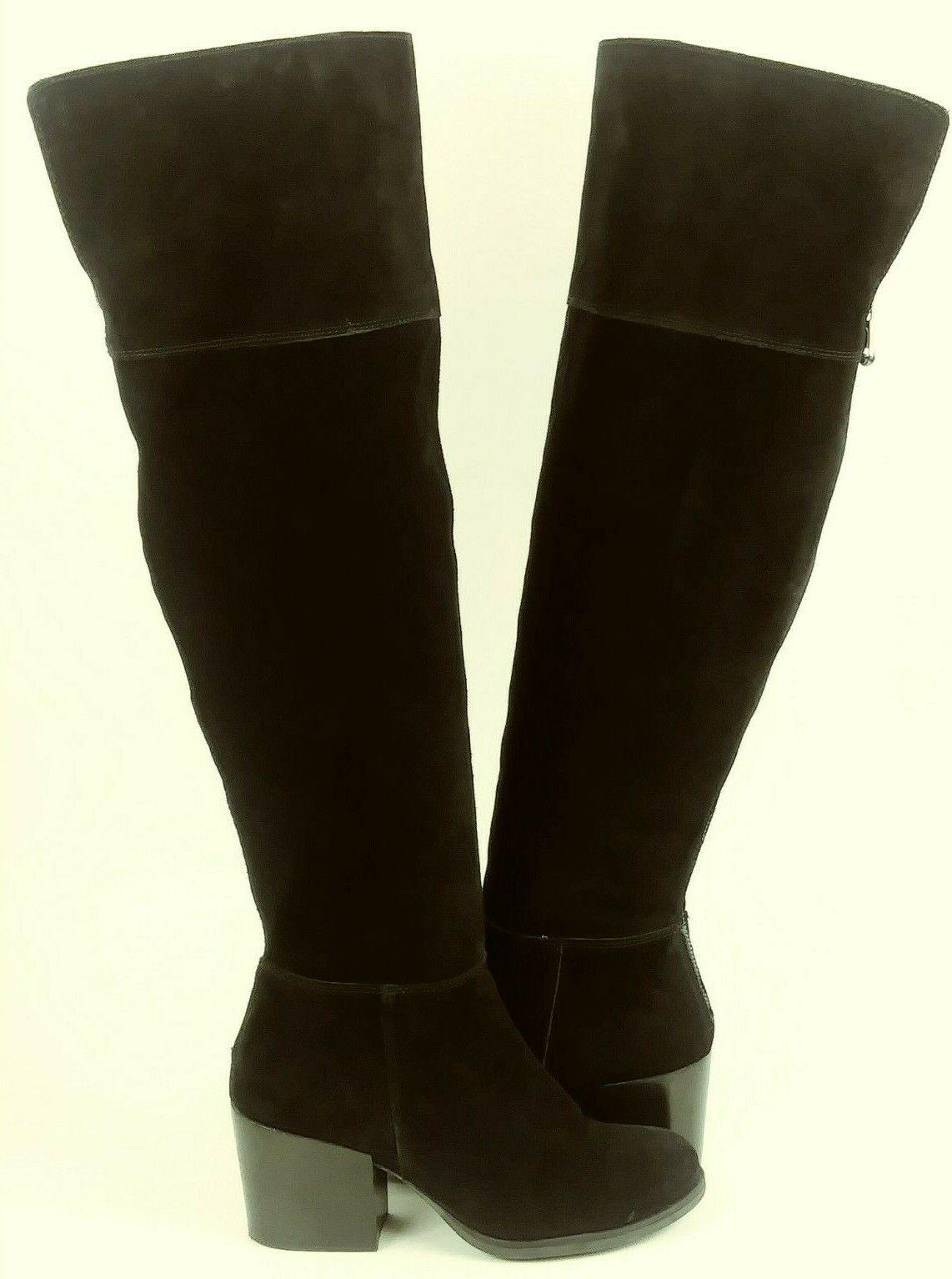 Steve Madden ORABELA Womens Boots Tall OTK US 5 Black Suede Textile Heels 1100