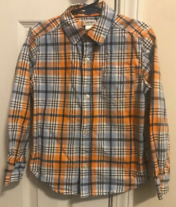 Carters-Boys-5t-Long-Sleeve-Button-Up-Orange-And-Blue-Shirt
