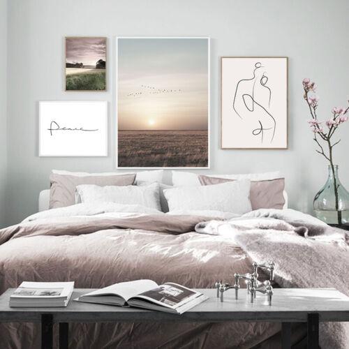 Sunset Nature Landscape Poster Canvas Wall Print Nordic Decoration Picture