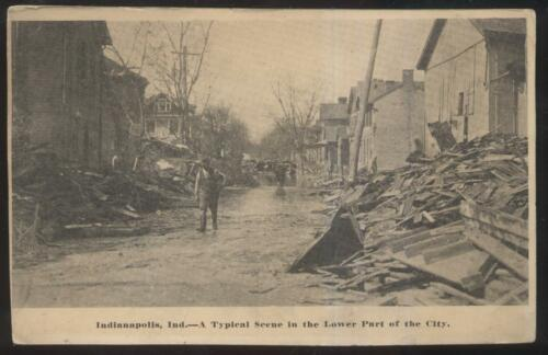 Postcard INDIANAPOLIS INDIANA IN FLOOD DISASTER LOWER SIDE OF CITY 1907?