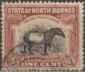NORTH-BORNEO-1925-1c-MALAYAN-TAPIR-USED-A