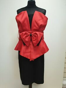 F203-WOMENS-HOLLY-WILLOUGBY-RED-BLACK-BOW-EVENING-PARTY-EVENT-DRESS-UK-16
