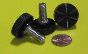 Plastic-Black-Stainless-Thumb-Screw-1-034-Head-Dia-5-16-034-18-x-3-4-034-Length-10-Pc