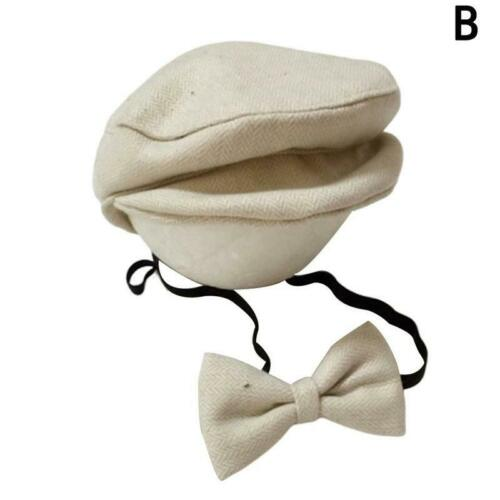 Baby Newborn Peaked Beanie Cap Hat Bow Tie Photo Photography Prop Outfit Set