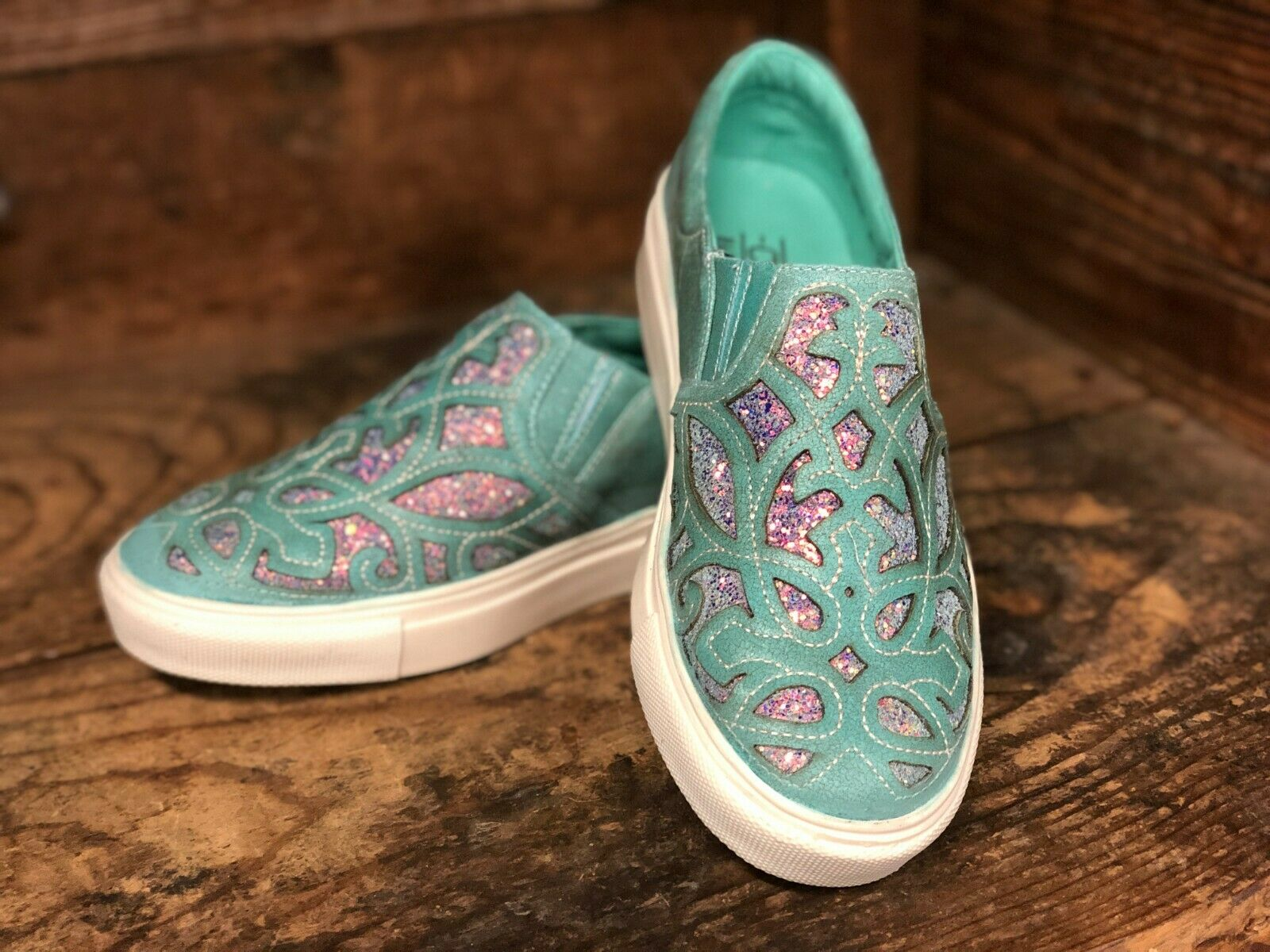 Corral Women's Turquoise & Glitter Inlay Slip On Casual shoes E1566