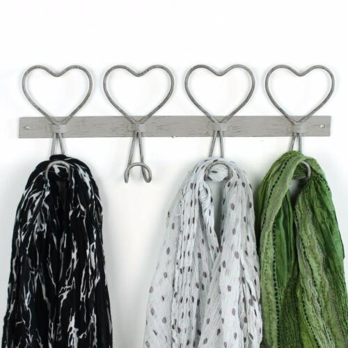 Heart Coat Hook 4 Four Hanger Clothes Grey Vintage Rustic