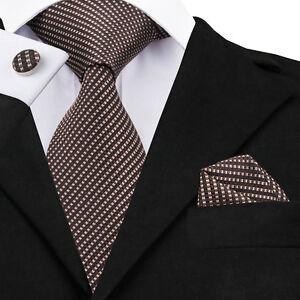 Classic-Men-s-Necktie-Brown-Strip-Silk-Tie-Set-Hanky-Cufflinks-Wedding-2018-C663