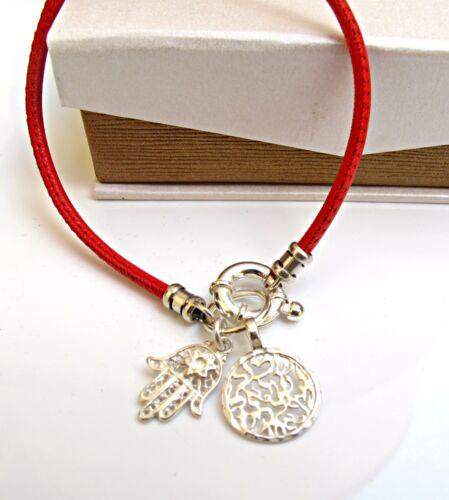 La Kabbale rouge ficelle Shema Bénédiction Hamsa Mauvais Oeil Argent Charms Bracelet Cuir