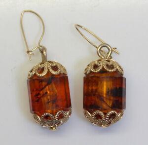 Gorgeous-Estate-Vintage-14K-Gold-Genuine-Amber-Fancy-Cut-Gemstone-Drop-Earrings