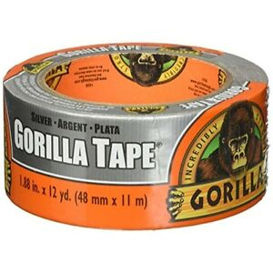 "Gorilla 6071202 Duct Tape, 1.88"" x 12 Yd, Silver"