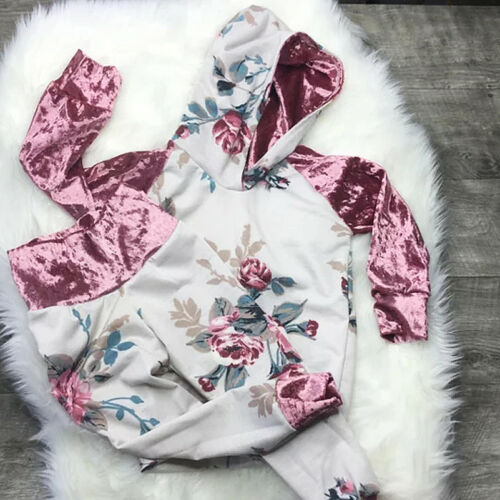 UK Velvet Kids Baby Girls Hoodie Clothes T-shirt Top Pants Outfit Set Tracksuit