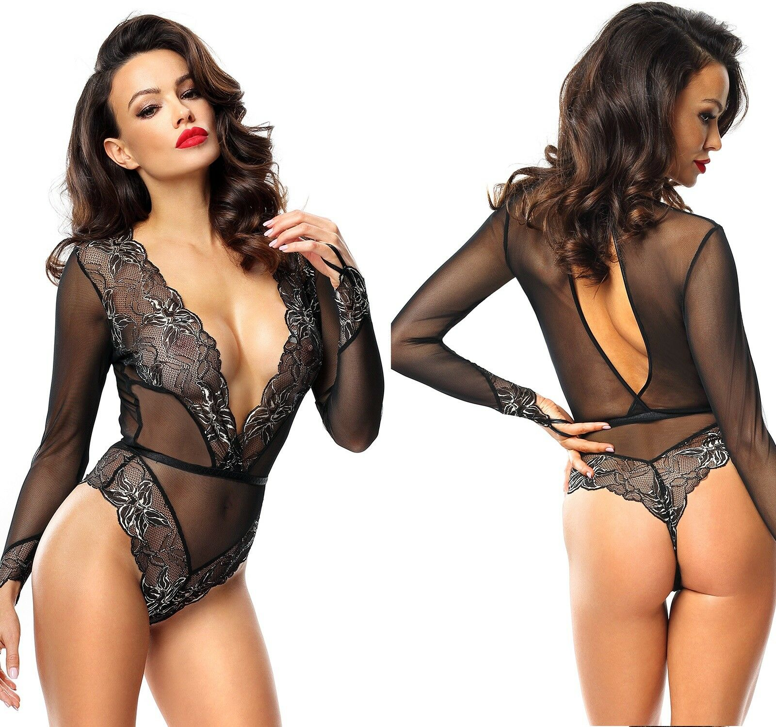 DEMONIQ AXELLE BODY clubwear schwarz transparent bodysuit string ... be8cac511cec0