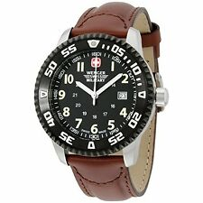 NEW Wenger Swiss Military Men's Leather Strap Watch - Dial: Black/Strap: Brown