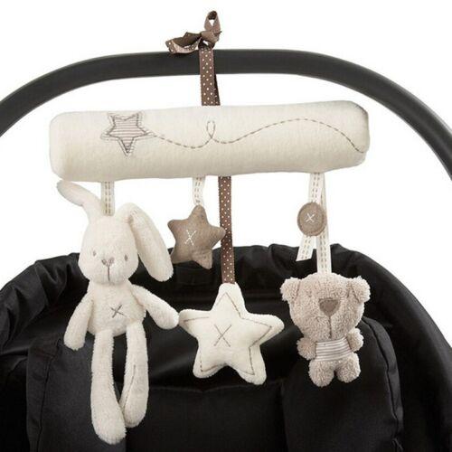Plush Rabbit Baby Stroller Mobile Crib Hanging Bed Toys Multifunction Music Toys
