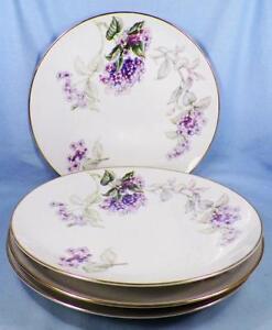 4-Sone-China-Lilac-Dinner-Plates-Porcelain-Gold-Trim-Purple-Lilacs-Japan-Nice