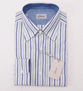 Camisa al 14019852130 green de Stripe Box ligera Nwt 525 frente algodón botones L Brioni Blue con aXxZBP