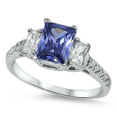 RADIANT CUT Tanzanite & Cz .925 Sterling Silver Ring Sizes 4-11