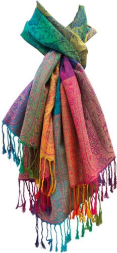 Damen-Schal Bunt Regenbogen-Farben Pashmina Tuch elegant weich Paisley Fransen