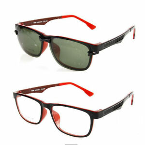 a8e8097cf0 Image is loading New-Sporty-Eyeglass-Frames-Magnetic-Polarized-Clip-On-
