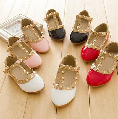 Evening Shoes Girls Kid Pretty Princess Rivet Buckle T-strap Flats Shoes Heels
