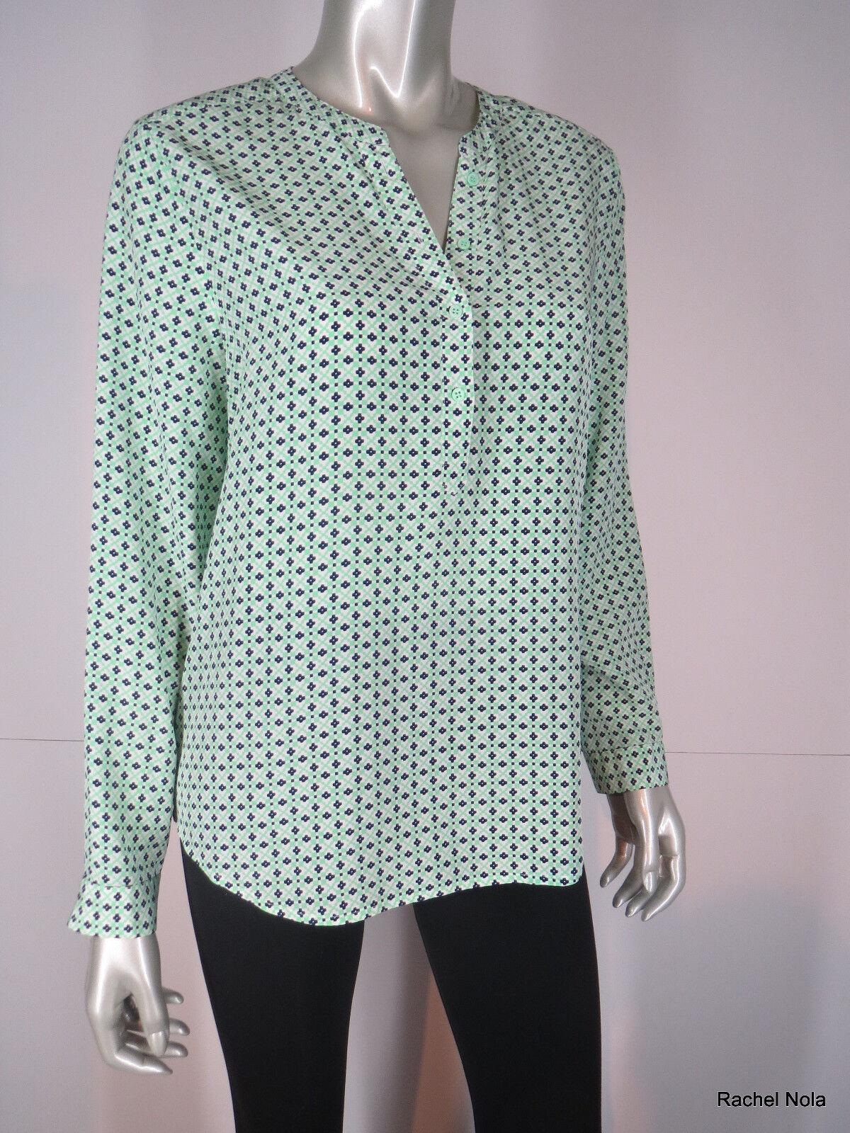 Joie Blouse Tunic Silk Größe L M Grün Blau Ivory Mod Geometric Print Long Sleeve
